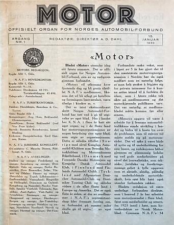 <b>1930: </b>I begynnelsen var ordet. Ganske mange av dem, faktisk. Her er Motors første utgave.