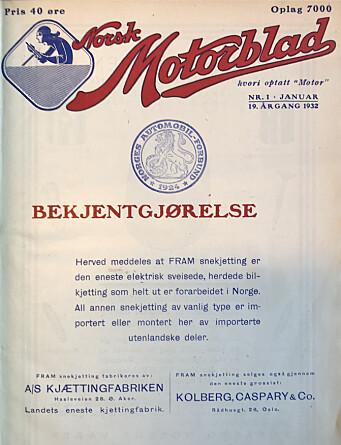 <b>1932:</b> Kjetting er bra, i følge en bekjentgjørelse.