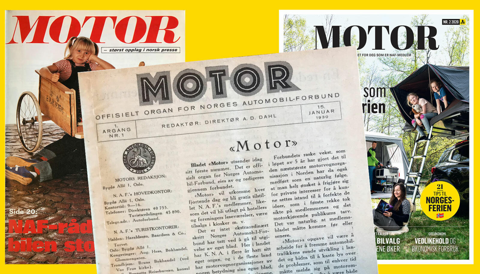 FØRSTESIDEN: Motor anno 1980 og 2020 flankerer den første utgaven av Motor.
