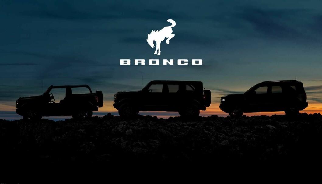 <b>VENTET TREKLØVER:</b> Det ikoniske navnet Bronco hentes frem til tre nye Ford-SUV-er.
