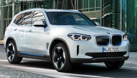 <b>BMW iX3.</b> Helelektrisk. Batteri: 74 kWt, rekkevidde: 400 km +, 559.000 kr, 4WD: Nei, Tilhenger: Ja, 750 kg