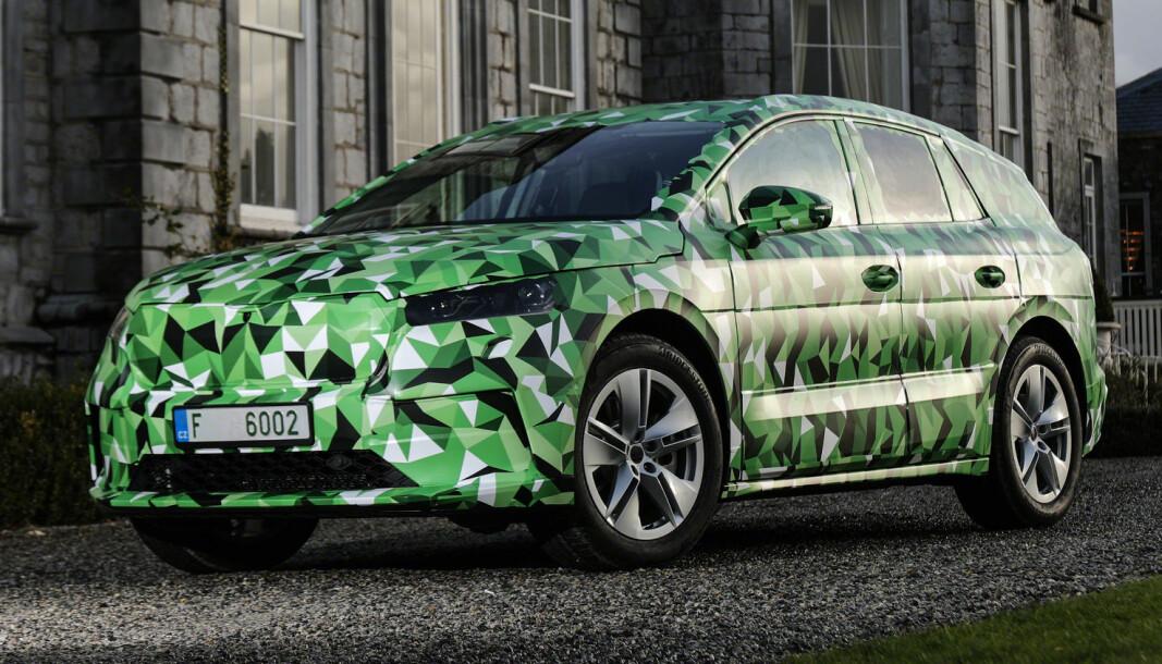 KAMUFLASJE: Skoda presenterer sin el-SUV Enyaq i Praha 1. september.