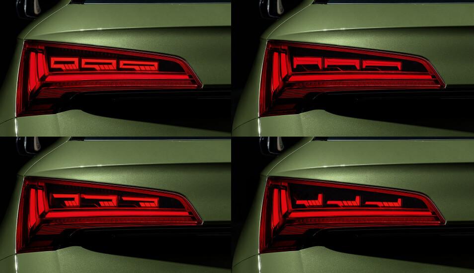 ULIKE UTRYKK: Eksempler på hvordan baklyssignaturen til Audi Q5 kan endres med den nye OLED-teknologien.