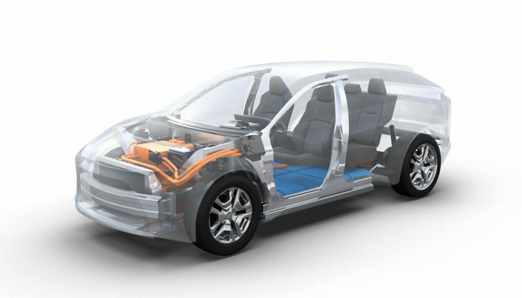 "<span class="" font-weight-bold"" data-lab-font_weight_desktop=""font-weight-bold"">PLATTFORM:</span> Denne illustrasjonen viser en elektrisk SUV på e-TNGA-plattformen."