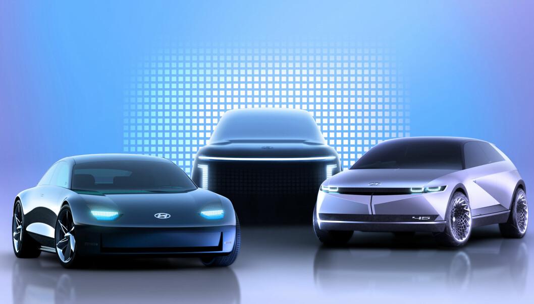 <b>SATSER:</b> Disse tre elbilmodellene under navnet Ioniq kommer i løpet av 2021-2024.