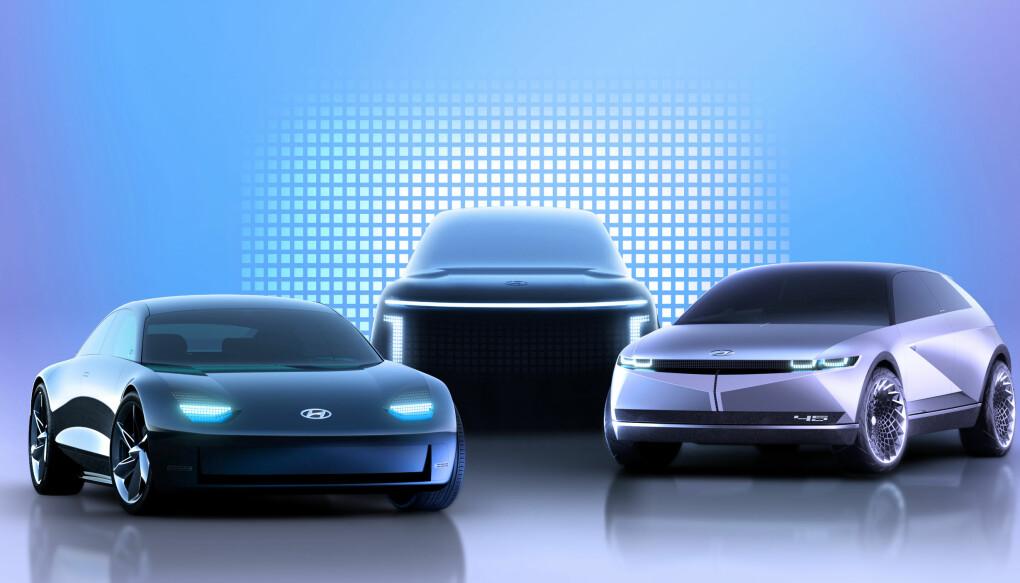 """<span class="""" font-weight-bold"""" data-lab-font_weight_desktop=""""font-weight-bold"""">ELBILSATSING:</span> Tre nye elektriske konseptmodeller som snart vil bli produksjonsklare, og da med navnet Ioniq. Først ut er Ioniq 5, som har klare likhetstrekk med bilen til høyre."""