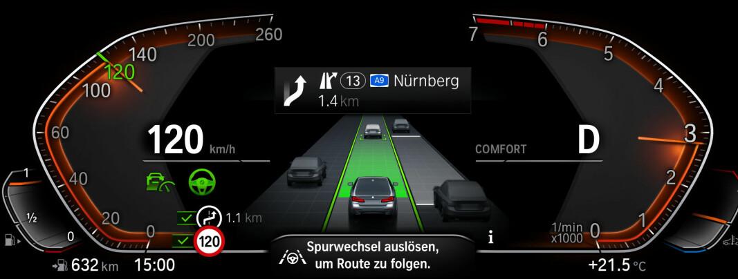 <b>KAN BLI LITT MYE:</b> Vi finner ikke grafikken i instrumentpanelet hos BMW optimal.