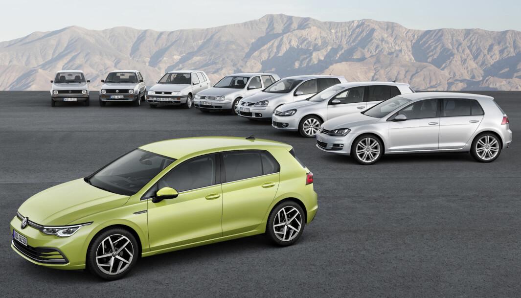 MOT SLUTTEN: Tiden er snart ute for VW Golf – her i alle åtte generasjoner – på de norske bestselgerlistene.