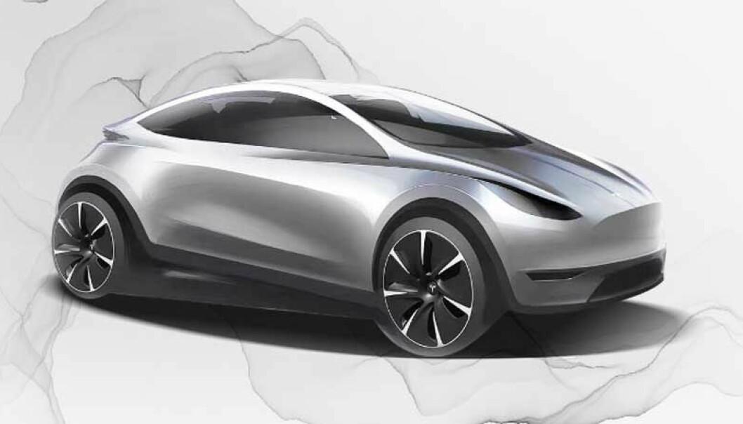 <b>MODEL 2? </b>Slik er skissen Tesla China har spredd på kinesiske sosiale medier.