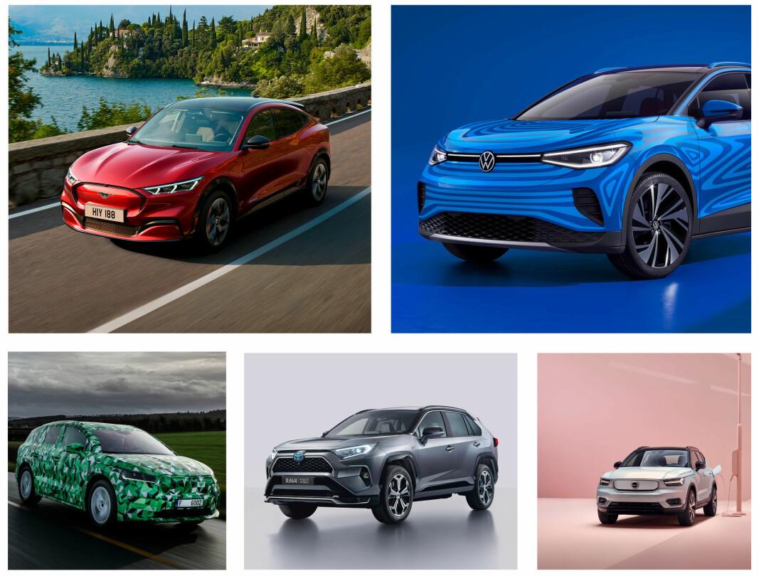<b>HØYT PÅ LISTENE:</b> Ford Mustang Mach-e (fra øverst venstre med klokka), VW ID.4, Volvo XC40, Toyota RAV4 og Skoda Enyaq.