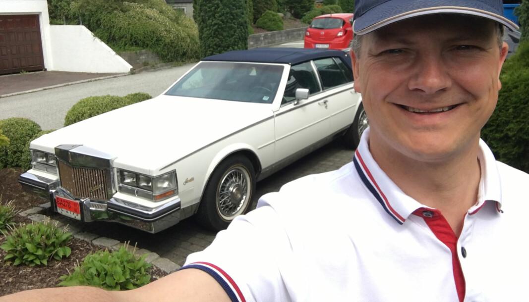 <b>HELT KONGE: </b>Tidligere samferdselsminister Ketil Solvik-Olsen og hans Cadillac Seville.