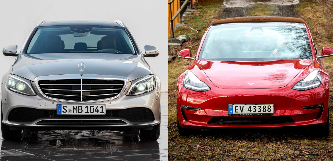 <b>DIESEL VS ELBIL:</b> Mercedes C-klasse mot Tesla Model 3 i ny klimakamp.