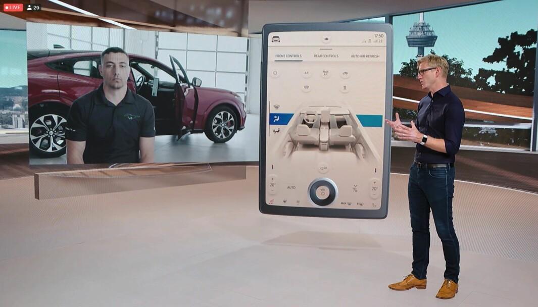 NEI, IKKE TESLA: Åtte år etter Model S får Fords elektriske SUV siste skrik innen skjerm og multimedia.
