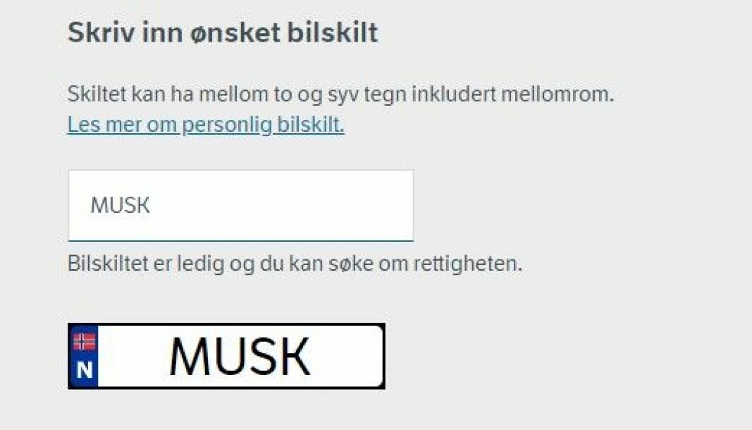<b>LEDIG: </b>På vegvesenets sider kan du nå søke om å få kalle Teslaen din «Musk».