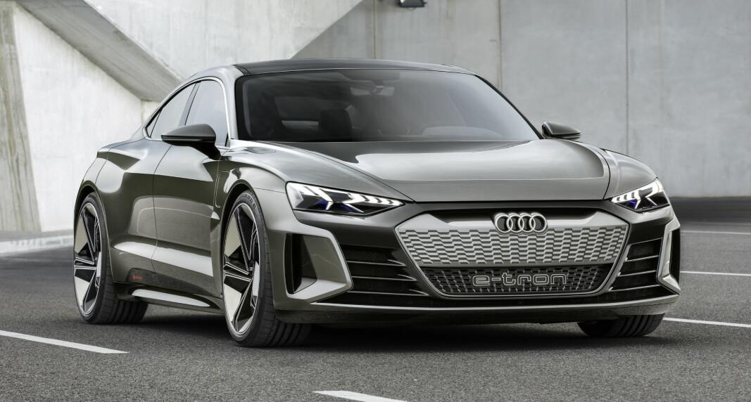 <b>ELEKTRISK PRESTISJE</b>: Audi e-tron GT lanseres tidlig neste år. Den blir ganske lik denne konseptbilen.