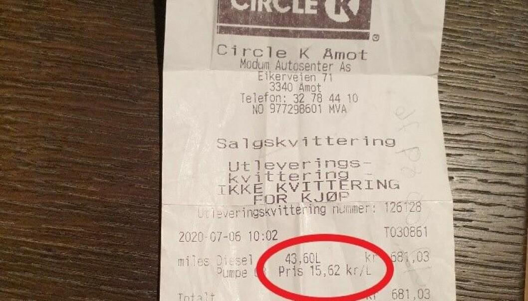 <b>KVITTERING:</b> Per Anders fylte nesten 44 liter til 15,62 kr/l.