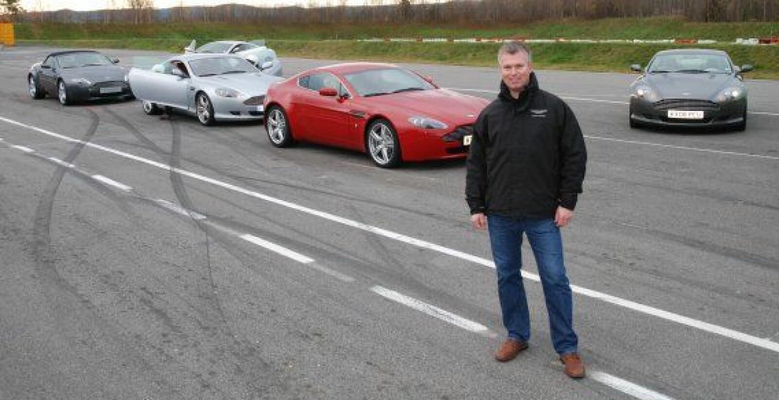 <b>PÅ BANEN: </b>Aston-forhandler Thomas Øvreseth har deltatt på utallige «track days» – baneløp ved Aston Martin-fabrikken i England – med og uten norske kunder.