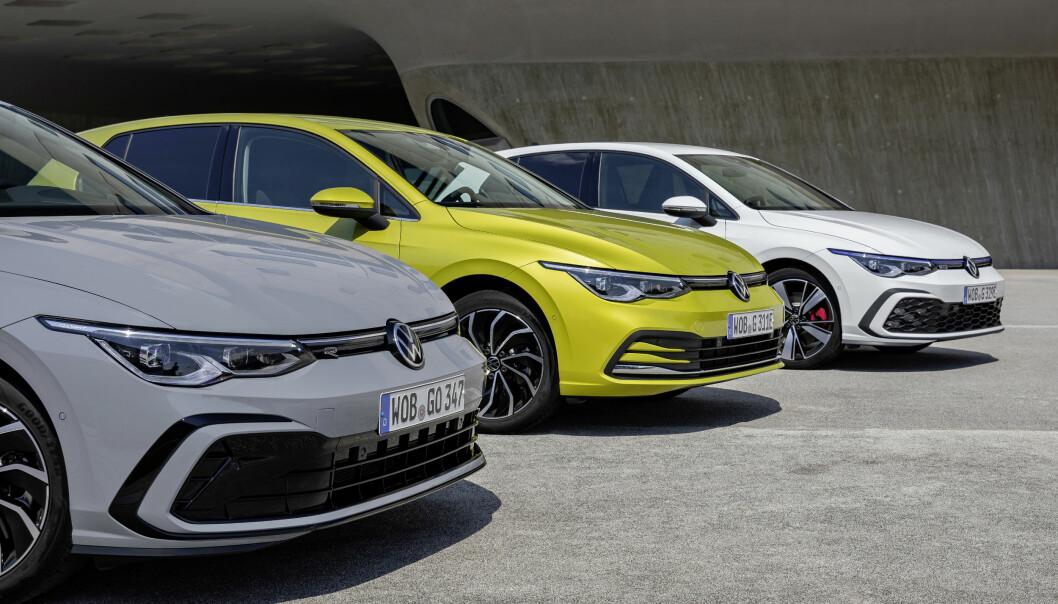 <b>NYE FRONTER:</b> Golf eTSI (nærmest), den minste av de to hybridene, samt klassikeren GTI bakerst.