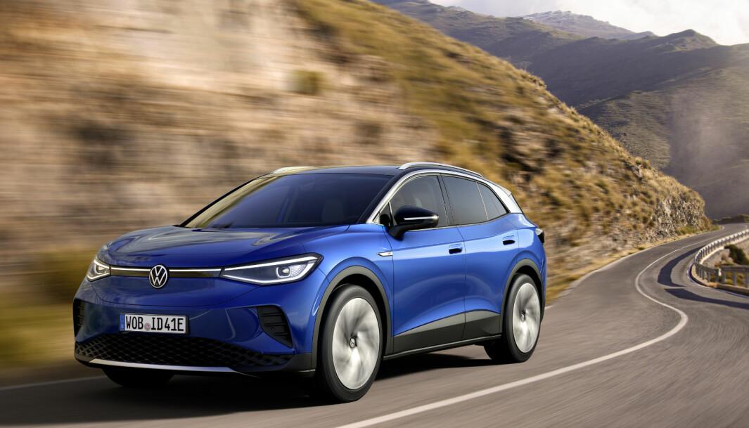 BRUK HELLER ENERGIEN: Volkswagen velger ikke å ha regenerering som standardinnstilling på sine elbiler. (Bildet viser en ID.4).