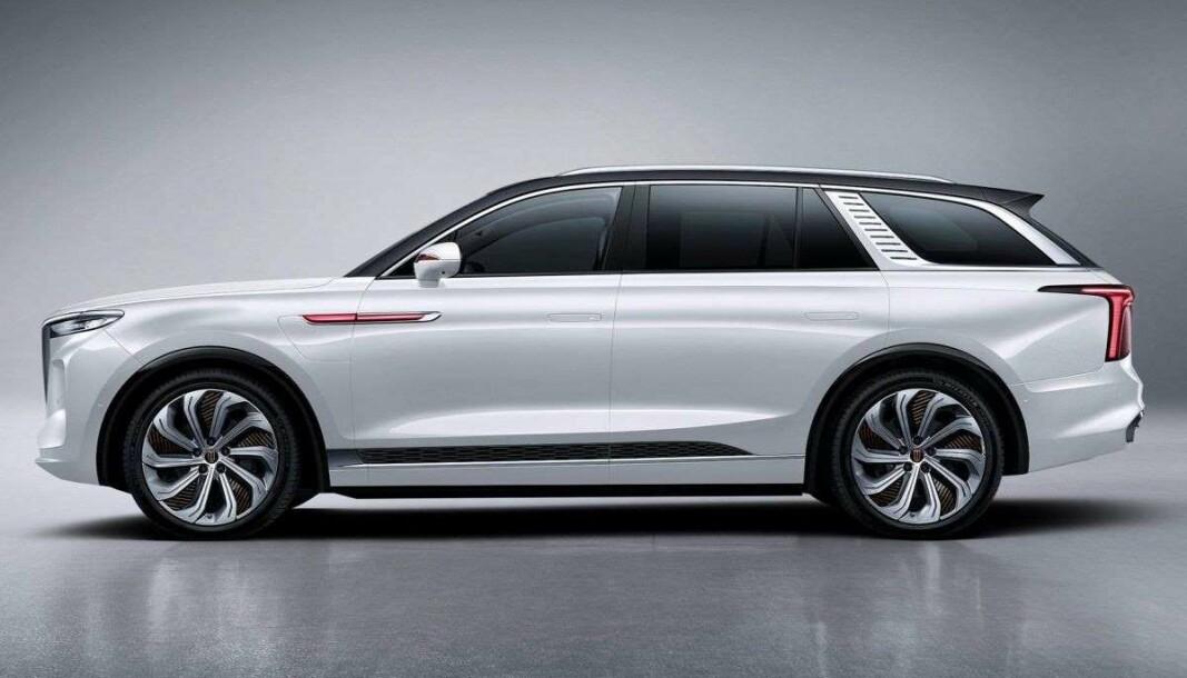 KINA-LUKSUS: Dette er Hongqi E-HS9, en elektrisk premium-SUV
