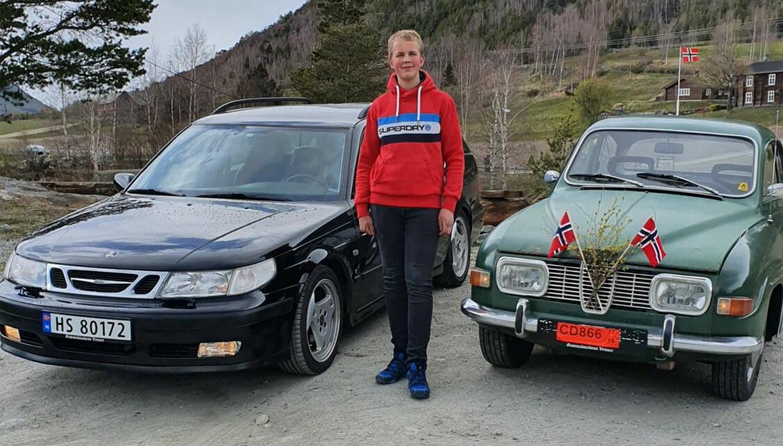 <b>FAMILIETRADISJON:</b> Alltid Saab for familien Forberg i Skjåk. Alf Tore (15) gjør definitivt ikke skam på tradisjonen.