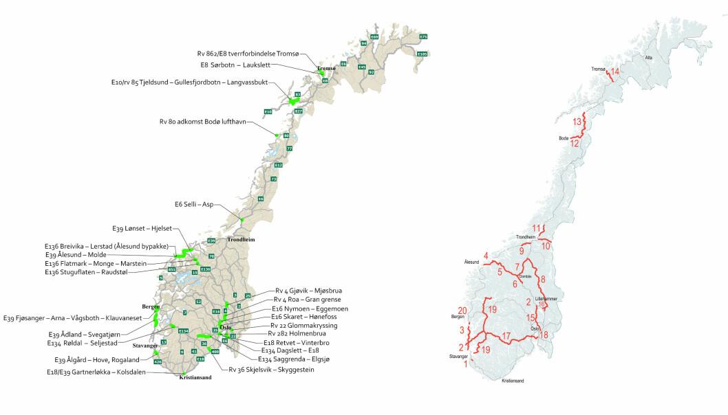 FØRSTEPRIORITET: Her er strekningene Statens vegvesen og Nye Veier (t.h.) vil prioritere mot 2033.