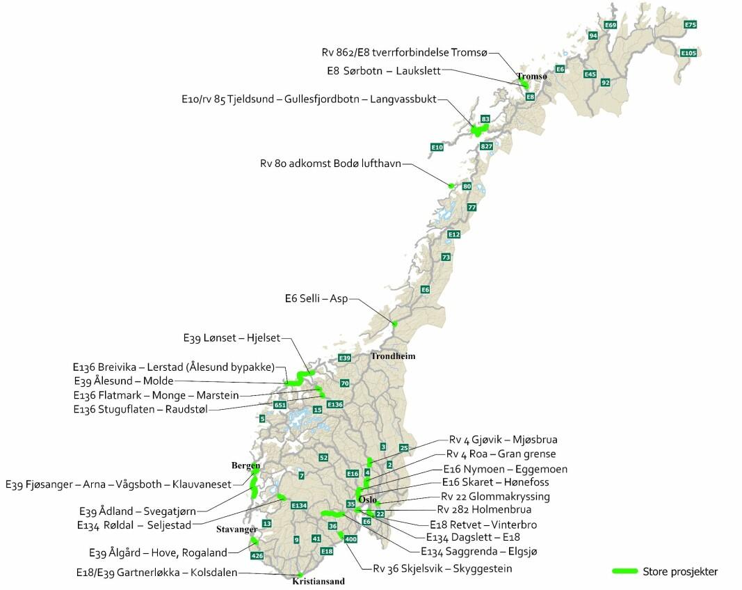 <b>JOBBLISTEN:</b> Her er strekningene Statens vegvesen vil prioritere i neste NTP, de store prosjektene er markert med lysegrønt.