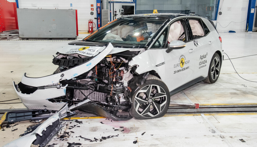 HØY SCORE: Volkswagen ID.3 etter frontkrasj hos Euro NCAP.