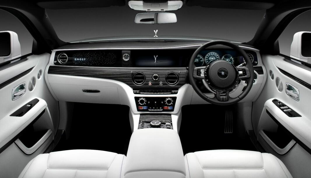 BLE FOR STILLE: Interiøret i Rolls-Royce Ghost II.