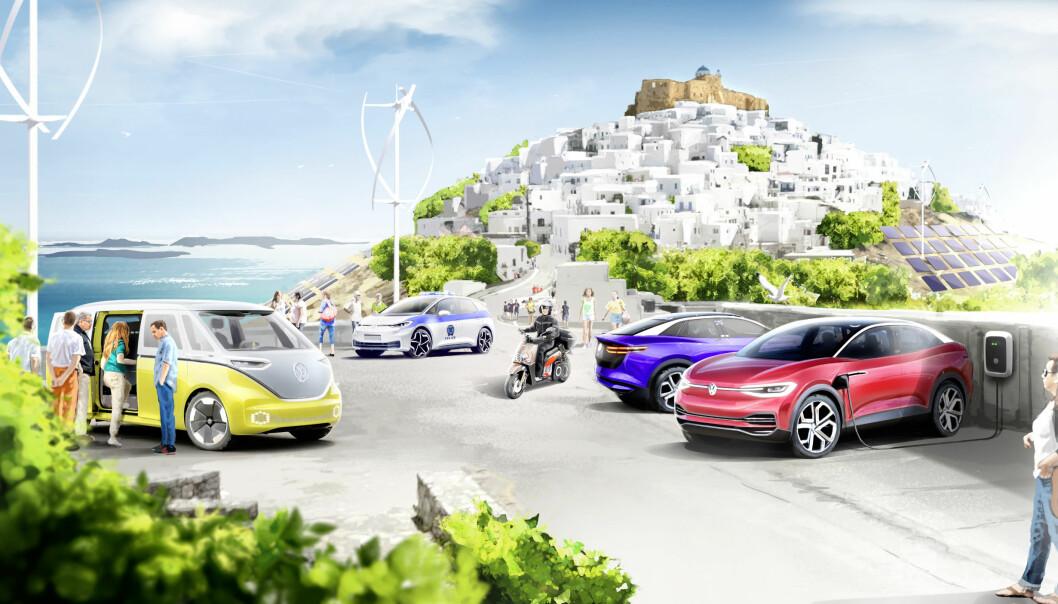 NULLUTSLIPPS-IDYLL: I løpet av seks år skal en liten gresk øy transformeres til et samfunn med klimanøytralt transportsystem.