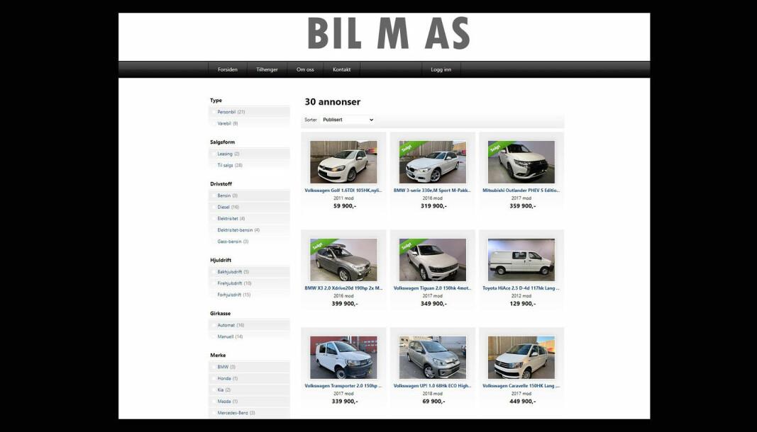 STORSELGER: Bruktbilfirmaet BIL M har 17 biler for salg på Finn, i tillegg til 30 biler på egne nettsider.