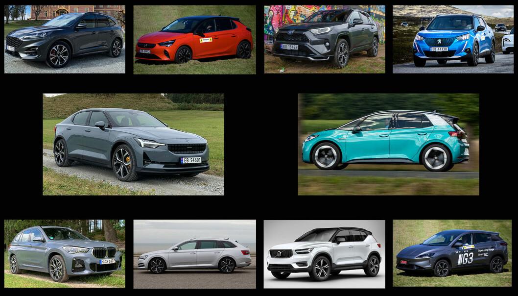 FINALISTENE: Dette er de 10 kandidatene i vår kåring av Årets beste bilkjøp.