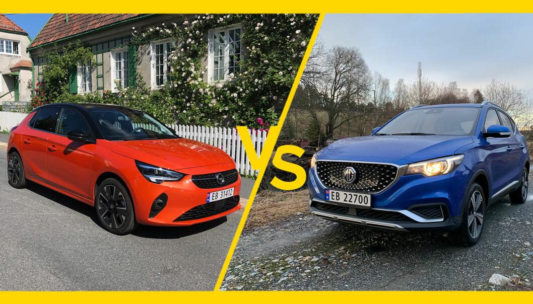 MYE FOR PENGENE: Opel Corsa-e (t.v.) og MG ZS EV får du bra utstyrt til under 300.000 kroner.