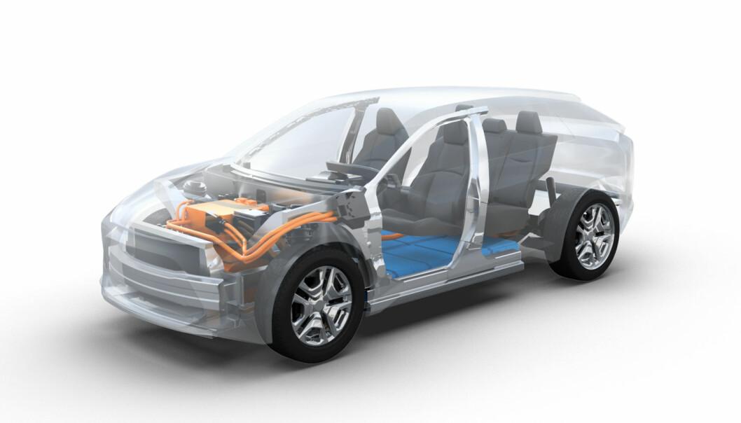 """<span class="""" font-weight-bold"""" data-lab-font_weight_desktop=""""font-weight-bold"""">KOMPAKT-SUV:</span> Toyota har tidligere vist fram denne skissen av en kommende elektrisk SUV på den såkalte e-TNGA-plattformen."""