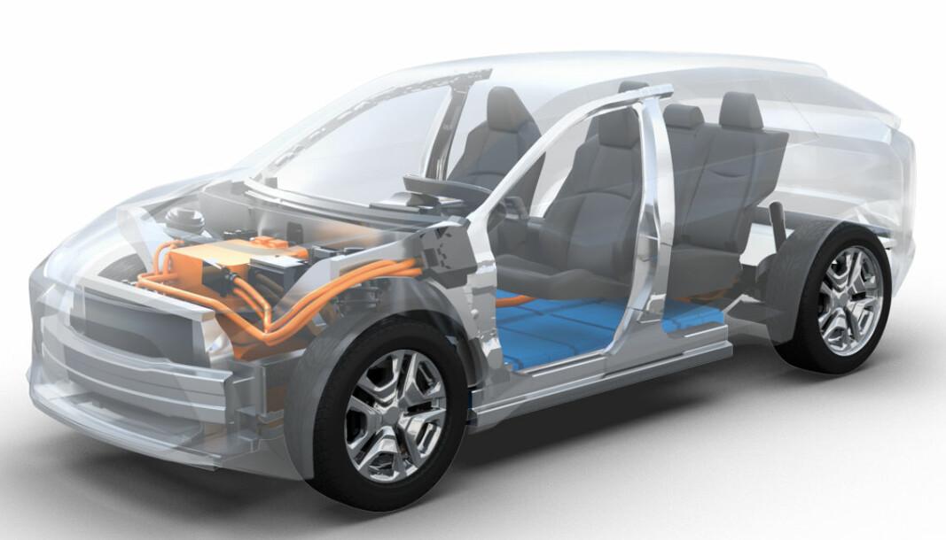 ELBIL KOMMER: Her er en forsiktig antydning av hva slags elbil vi har i vente fra Toyota.