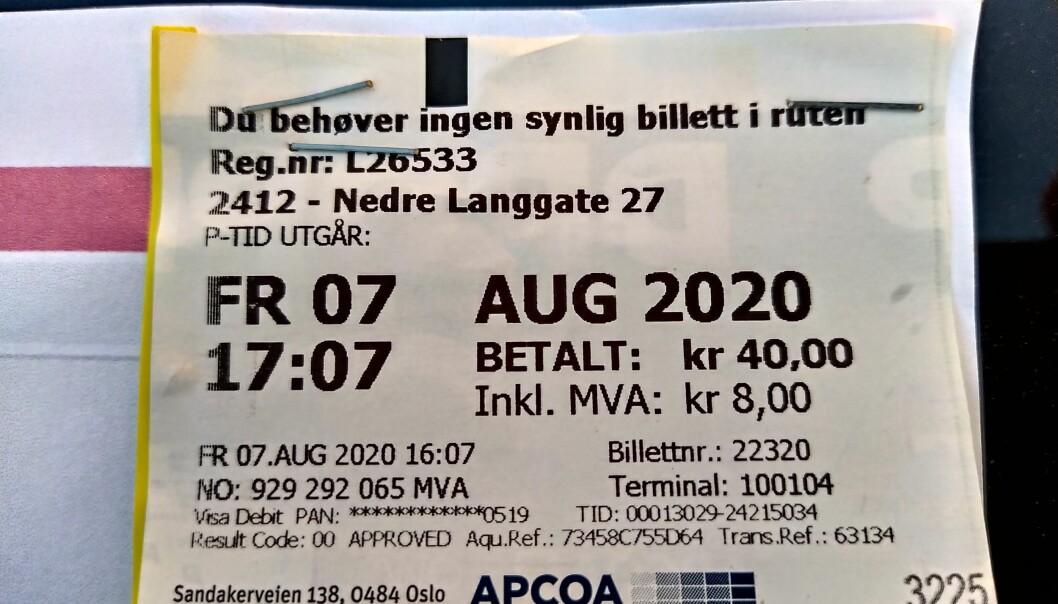 "<span class=""font-weight-bold"" data-lab-font_weight_desktop=""font-weight-bold"">BETALTE: </span>Harald betalte for parkeringen, men glemte altså én bokstav i registreringsnummeret."