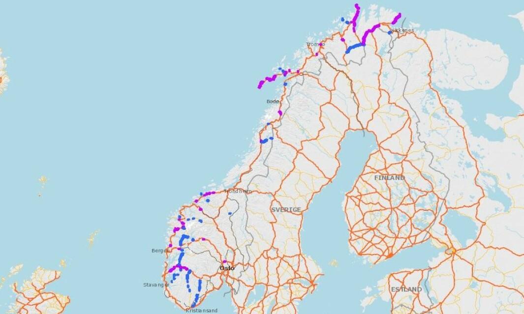UTEN STRIPE: Lilla er europavei, blått er riksvei – uten gul midtstripe.