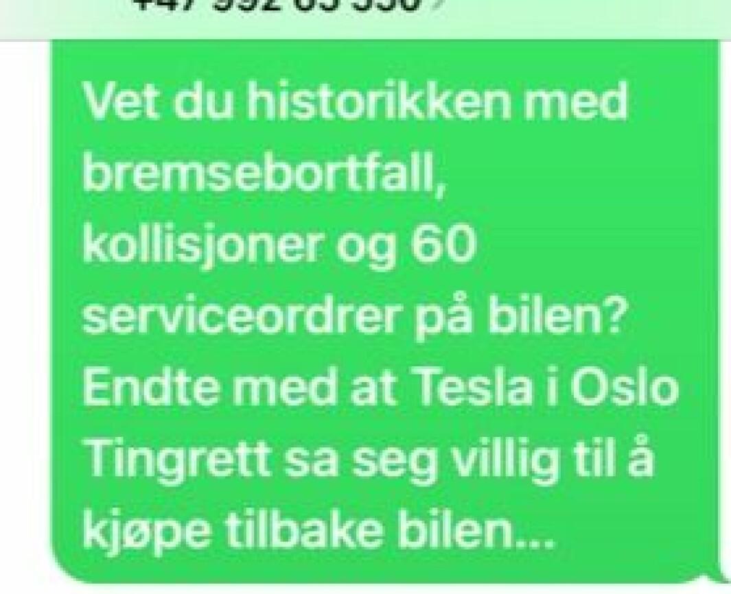 """<span class="""" font-weight-bold"""" data-lab-font_weight_desktop=""""font-weight-bold"""">SMS: </span>Jens Petter fikk denne tekstmeldingen fra Ola, den første eieren."""