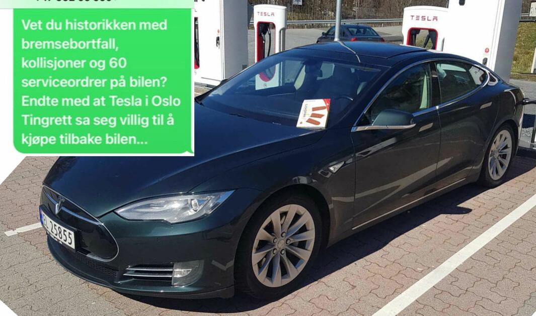 FIKK HEVET: Jens Petter Lund Sommerlade trodde han hadde kjøpt en topp Tesla Model S. Sannheten viste seg å være en ganske annen.