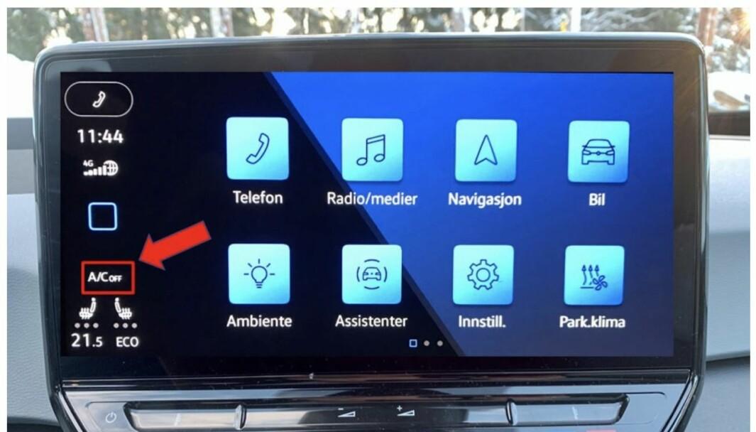 MÅ SKRU AV: Med bilder og piler gir VW kundene instrukser om hvordan klimaanlegget skrus av mens de venter på utbedring.