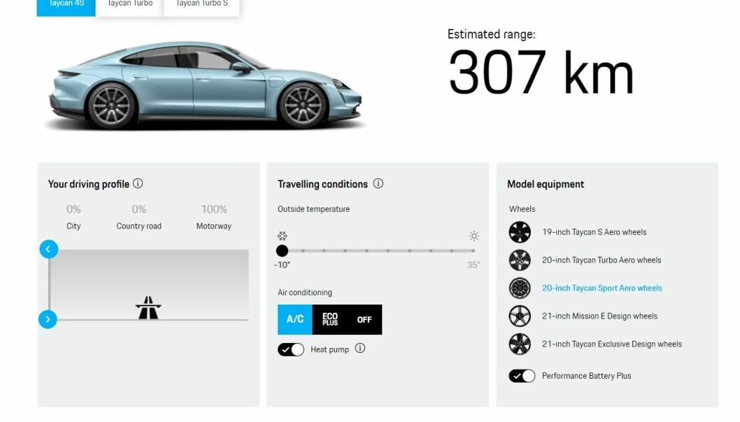 """<span class="""" font-weight-bold"""" data-lab-font_weight_desktop=""""font-weight-bold"""">MINDRE KUTT:</span> Porsche anslår at motorvei og kulde kutter rekkevidden med 34 prosent, fra 464 til 307 kilometer."""