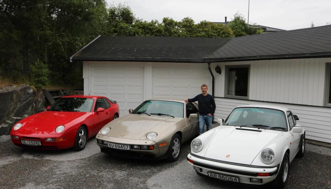 "<span class=""font-weight-bold"" data-lab-font_weight_desktop=""font-weight-bold"">PORSCHE OG POLESTAR:</span> Porsche-elsker Ivar Thomle Hoelsæter har gitt innsmett til Polestar 2 blant sine tre, klassiske Porsche-modeller."