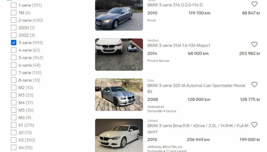 PÅ TOPP: I 2020 var det 12 millioner besøk på annonser for BMW 3-serie. Her er noen av de 1000 annonsene som akkurat nå ligger ute.