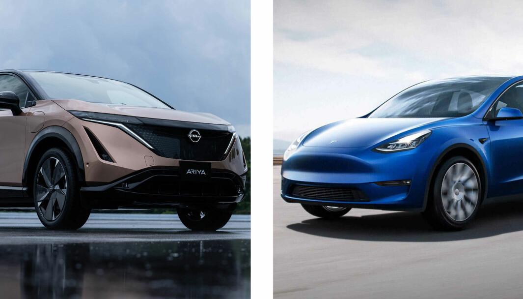 ÅRETS NYKOMMERE? Nissan Ariya (t.v.) og Tesla Model Y er to av bilene det knytter seg størst forventning til i 2021.