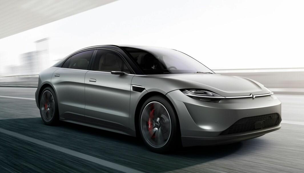 SONY VISION S: Elbilen Sony er i ferd med å teste ut er en stor sedan som kan minne vagt om Tesla Model S.