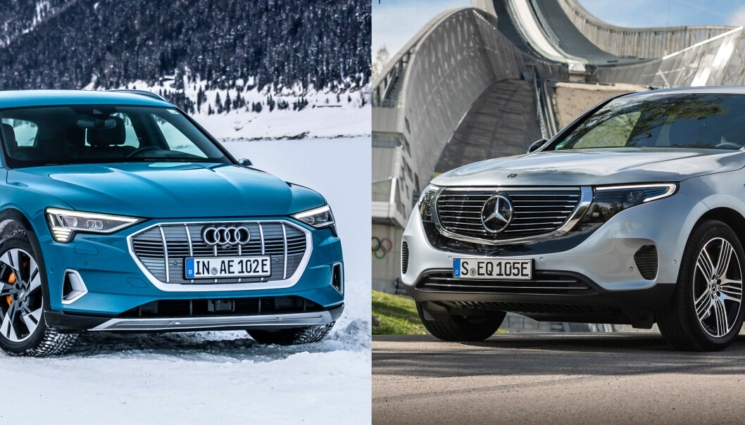 GOD TID: El-SUV-ene Audi e-tron (t.v.) og Mercedes-Benz EQC får generelt toppkarakter, men å henge på en campingvogn er for sjåfører med god tid.