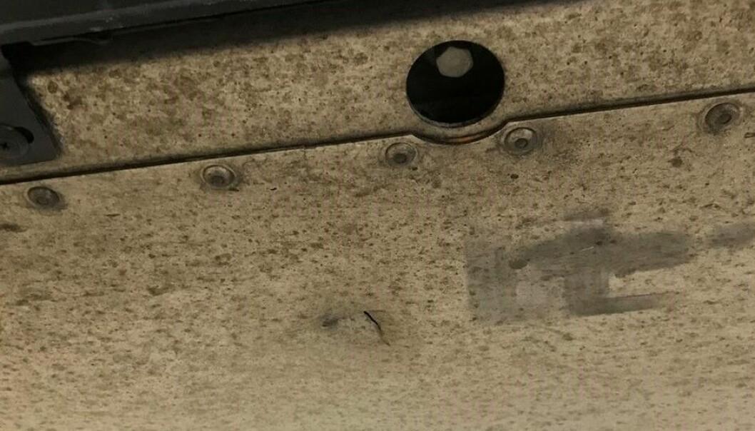 """<span class="""" font-weight-bold"""" data-lab-font_weight_desktop=""""font-weight-bold"""">MERKER</span>: Eieren av bilen mener disse merkene ved siden av det lille hullet tyder på at skaden har skjedd under oppjekking."""