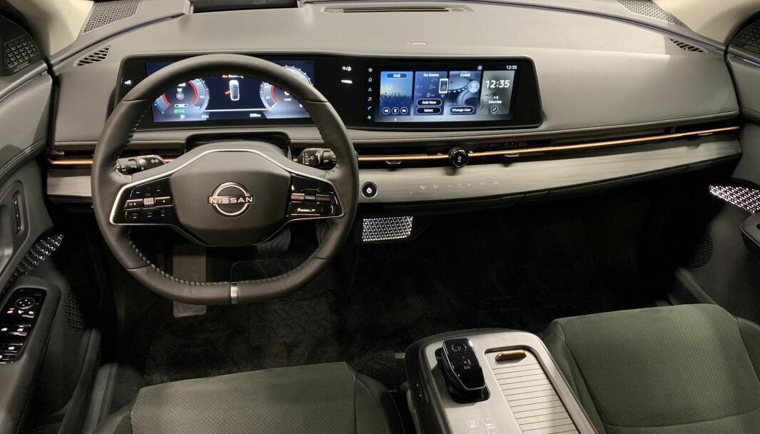 KOMMER NESTE ÅR: Bildet viser interiøret i Nissans elektriske SUV Ariya, som lanseres neste år. Nå har Nissan annonsert ytterligere en ny crossover.