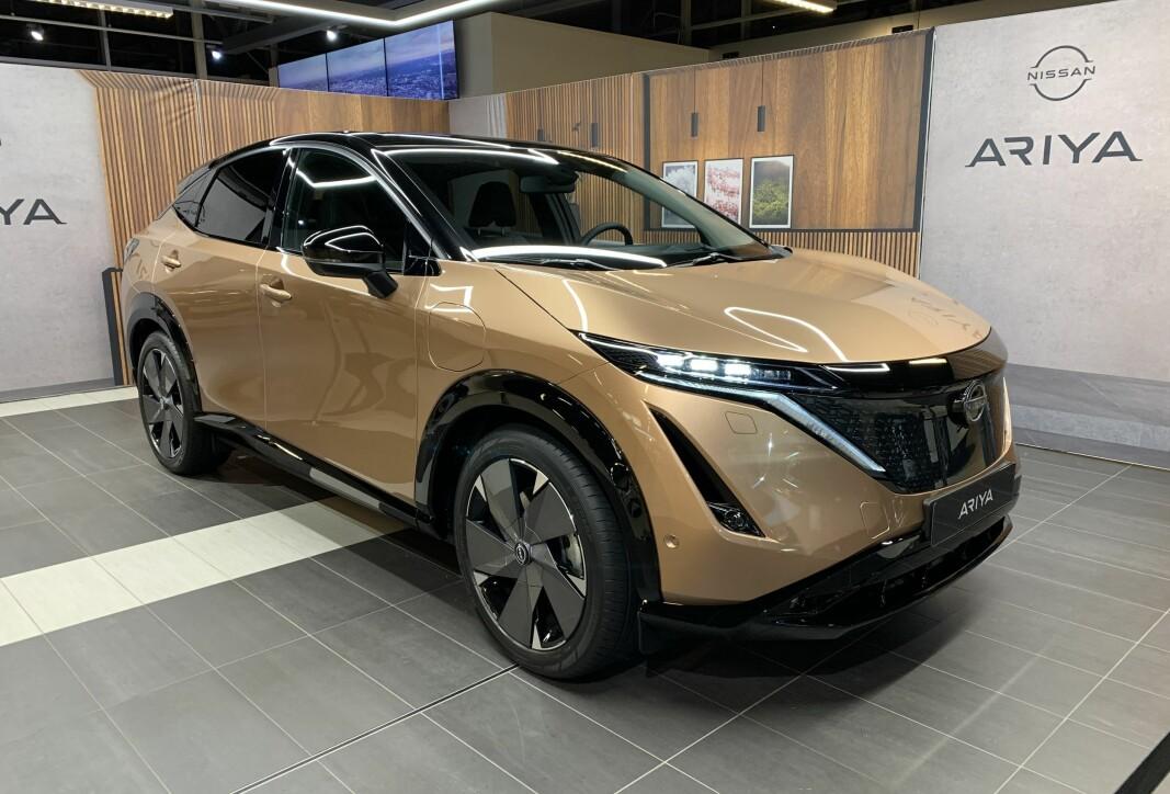 NÅ I OSLO: Nye Nissan Ariya er på Norgesturné. Her står den utstilt i hovedstaden, før den blir fraktet videre til Bergen og Trondheim.