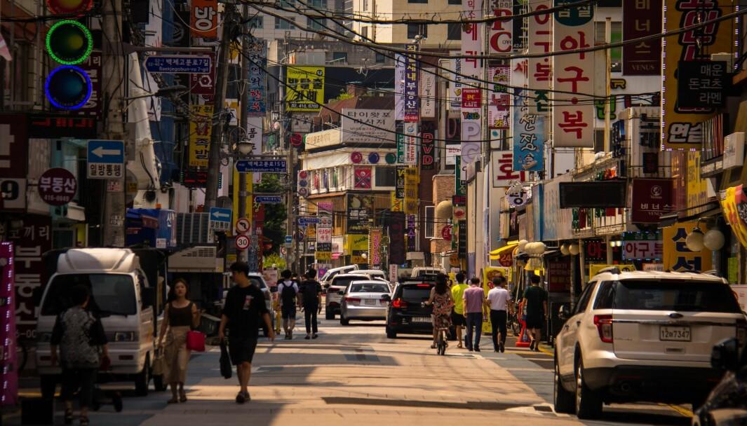 SNART GRØNT? Gatebildet i Seoul vil snart ha tett med elbilladere, hvis landets myndigheter får det som de vil,